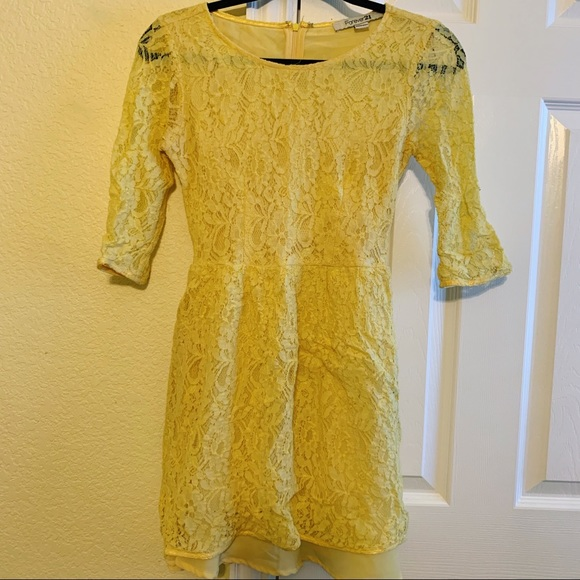 Forever 21 Dresses & Skirts - Yellow Lace Dress